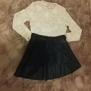 Limited Black faux leather skirt.